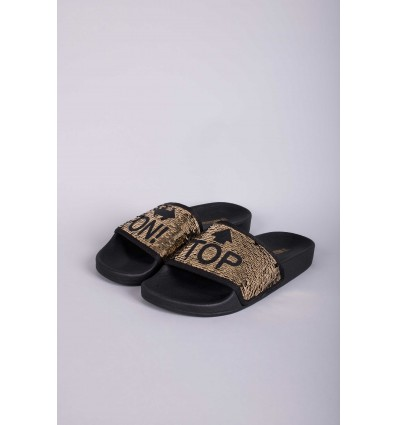 The Whitebrand slippers Sequins On Top Gold